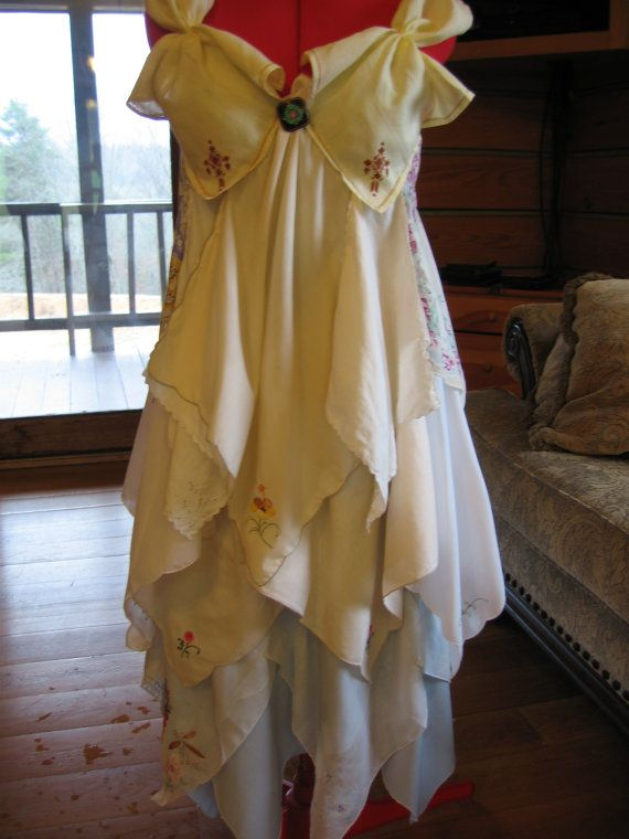 This beautiful dress, made from vintage hankies and embroidered napkins, and a one-of-a-kind piece that is not only vintage-lovely, but would be incredibly comfortable to wear too. Via Coyote Wood Works on Etsy.