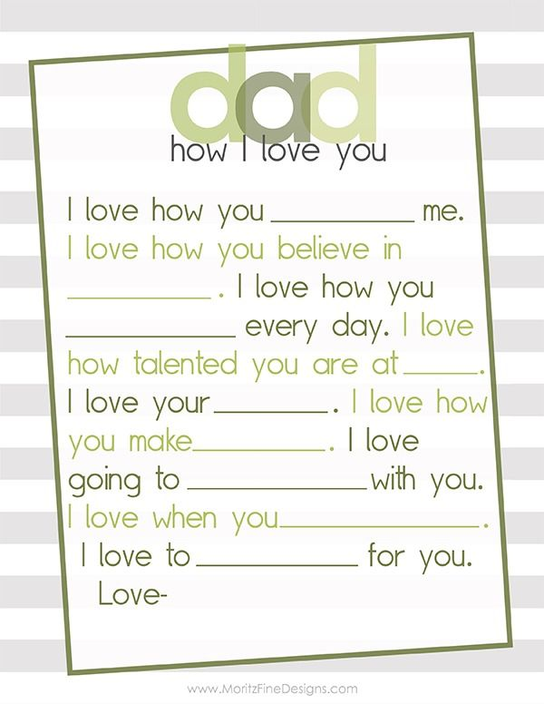 Fabulous Free Father's Day Printable. Simple fill in the blank Mother's Day Free Printable for Dad. This is perfect for a last minute gift or to add in with his card!