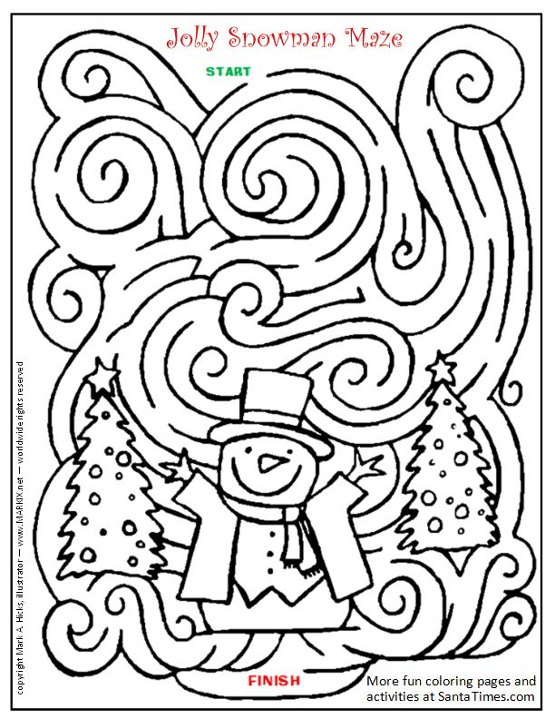 Jolly Snowman Maze Printout: Can You Find your way through this frosty winter maze?