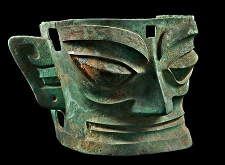 Sanxingdui culture bronze head artifact, State of Shu (蜀), an ancient state in what is now Sichuan, China. Shu was based on the Chengdu Plain, in the western Sichuan basin. This independent Shu state was conquered by the state of Qin in 316 BC, but recent archaeological discoveries at Sanxingdui and Jinsha thought to be sites of Shu culture indicate the presence of a unique civilization in this region before the Qin conquest.  Sanxingdui Museum