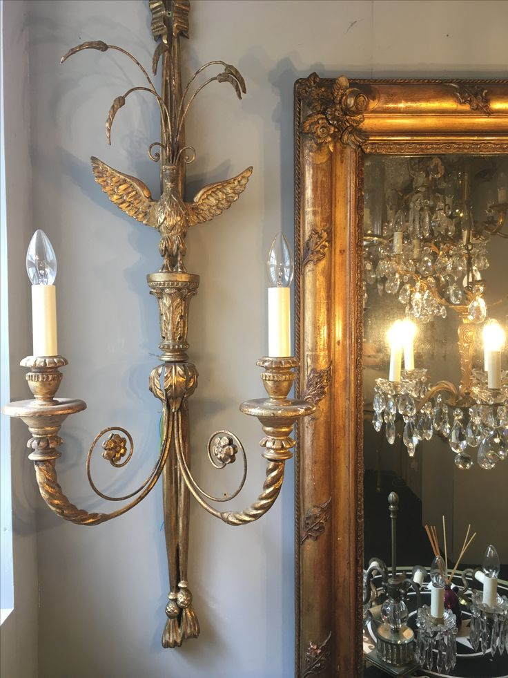 Impressive pair of English eagle giltwood wall lights from O'Keeffe Antiques.