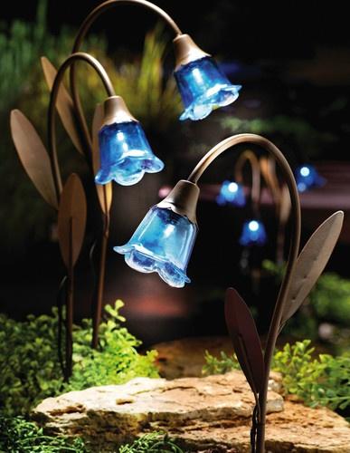 Solar Garden Lights Blue Bells On EBay