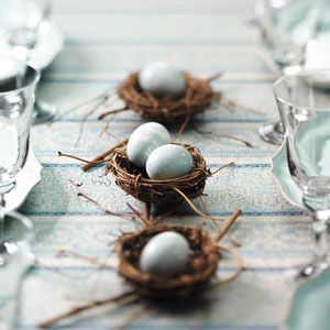 pretty little bird nest centerpieces made with real eggs - perfect for easter or spring decorating