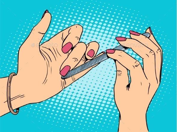 Nagelpflege Schönheit Frau. Das Mädchen kümmert sich um die Hände Pop-Art Retro-Stil – Hand ref