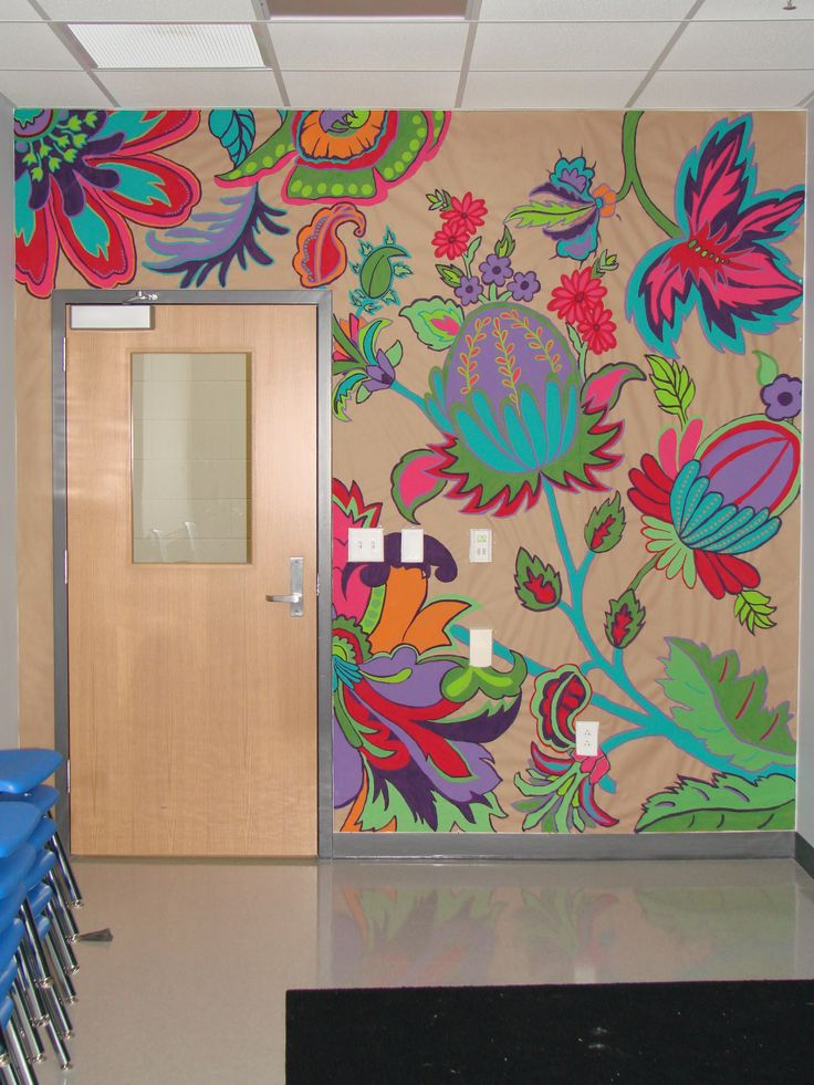 Classroom mural - I really hate when ceiling tiles are covered and not cohesive. I would prefer the walls to be covered.