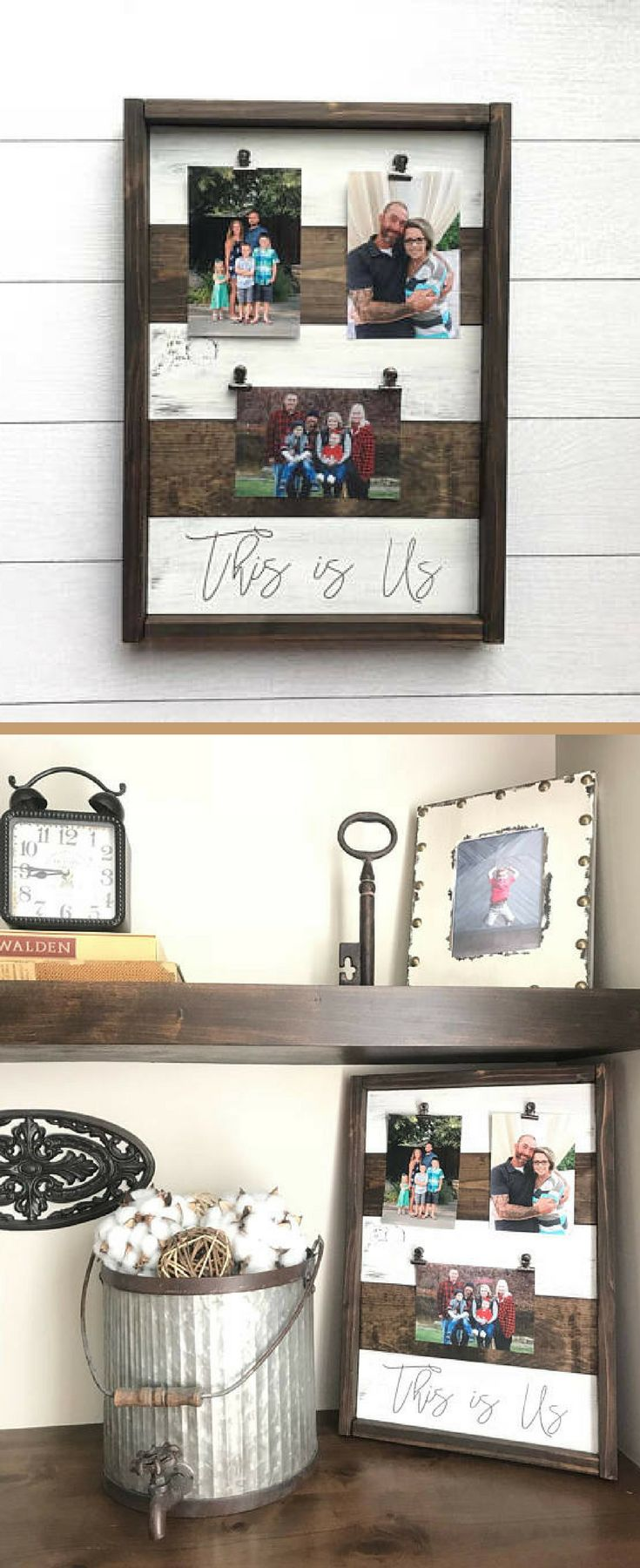 This is Us Picture holder wood framed sign. Perfect for showing off family photos!rustic picture frame. Photo holder. Photo frame. Wood sign. Wreath holder. Rustic Farmhouse decor. Farmhouse Picture Holder, Rustic decor, Rustic wall decor, living room decor #ad