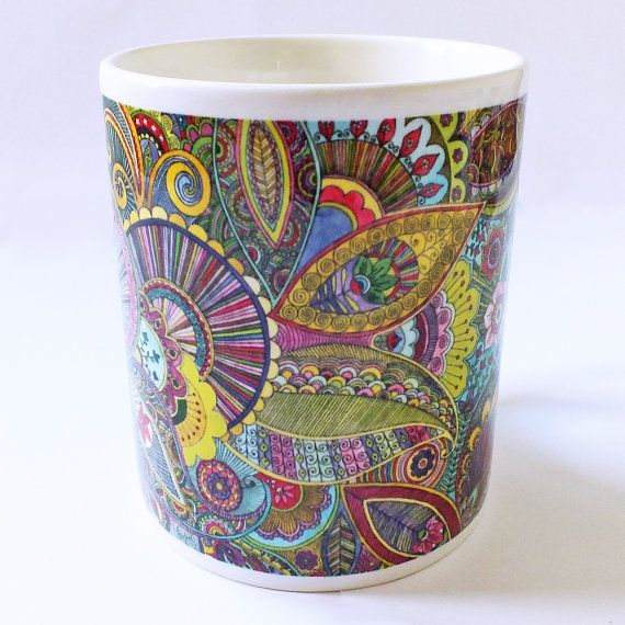 Vibrant Intricate Psychedelic Paisley Porcelain by SarahTravisArt, £8.75
