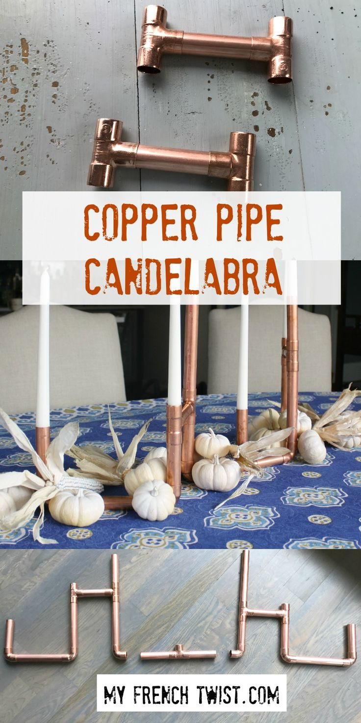 Who says industrial can't also be elegant? Just look at this copper pipe candelabra! http://www.myfrenchtwist.com/copper-pipe-candelabra/