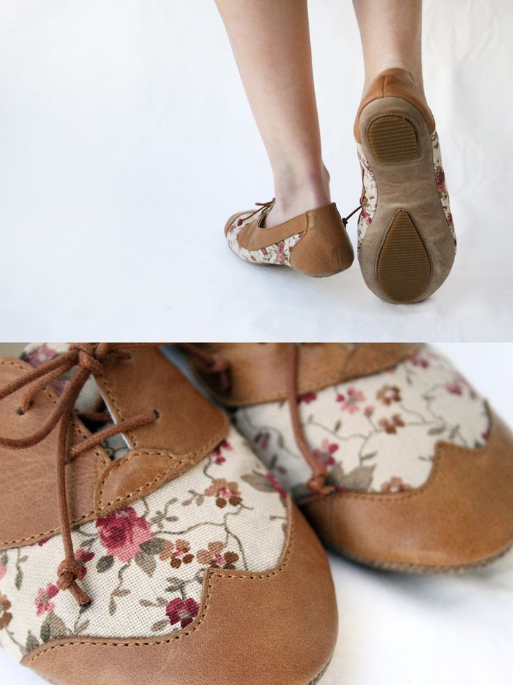 Brown Tea Party - Handmade Leather & vintage Floral fabric ballet flat shoes with wing tip oxfords -  CUSTOM FIT. via Etsy.