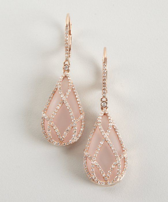 Rose quartz and diamond 'Julia' drop earrings, set in 14k rose gold | from Blue Fly, designed by Julia Teachey of Julieri