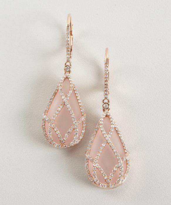 Rose quartz and diamond 'Julia' drop earrings, set in 14k rose gold | from Blue Fly, designed by Julia Teachey of Julieri