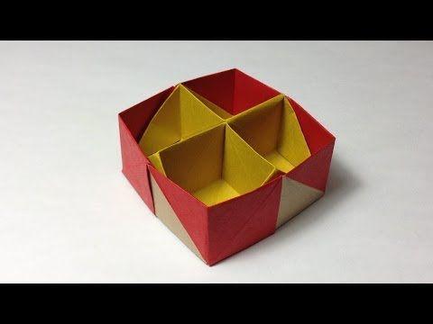 【折り紙(おりがみ)】 十字仕切り付き小箱の折り方 作り方 - YouTube