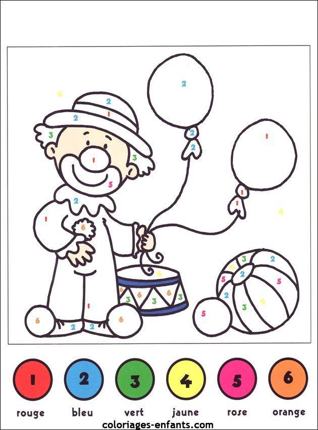 Coloriage magique clown maternelle   Laborde yves ...