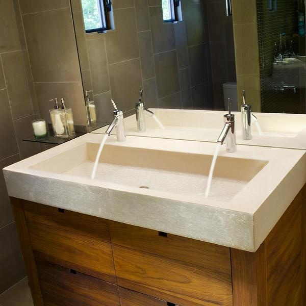 Two Faucets One Sink : Concrete Vanity Sink Bathroom Inspiration Pinterest
