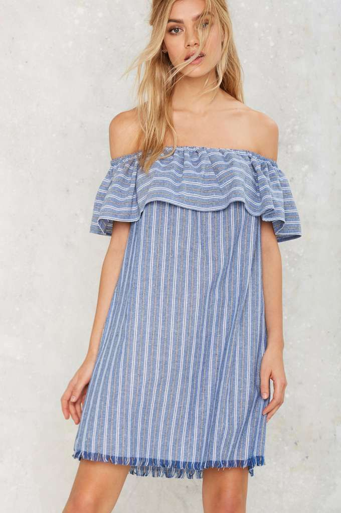 Tulum Off-the-Shoulder Mini Dress - Best Sellers   Back In Stock   Day   Dresses   Off The Shoulder   Stripes