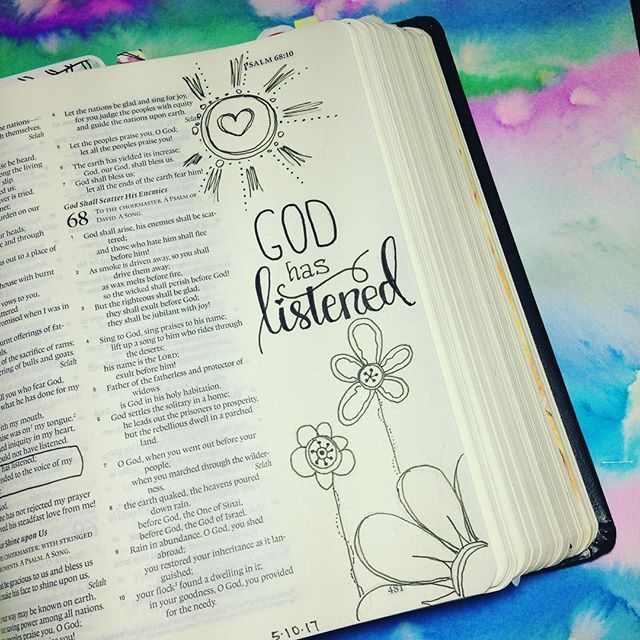 May 10. Psalm 66:19 But truly God has listened; He has attended to the voice of my prayer. Blessed be God. ❤ I have been praying for a friend. Today, she shared how a situation close to our hearts had been changed!  He does hear. He does answer.  I ran out of time to color but it was essential I took time to praise Him with a thankful heart!❤ #illustratedfaith #illustratedfaithcommunity #illustratedfaith2017 #illuminatedfaith #scripture #scriptureart #documentedfaith #documentedfaith2017…