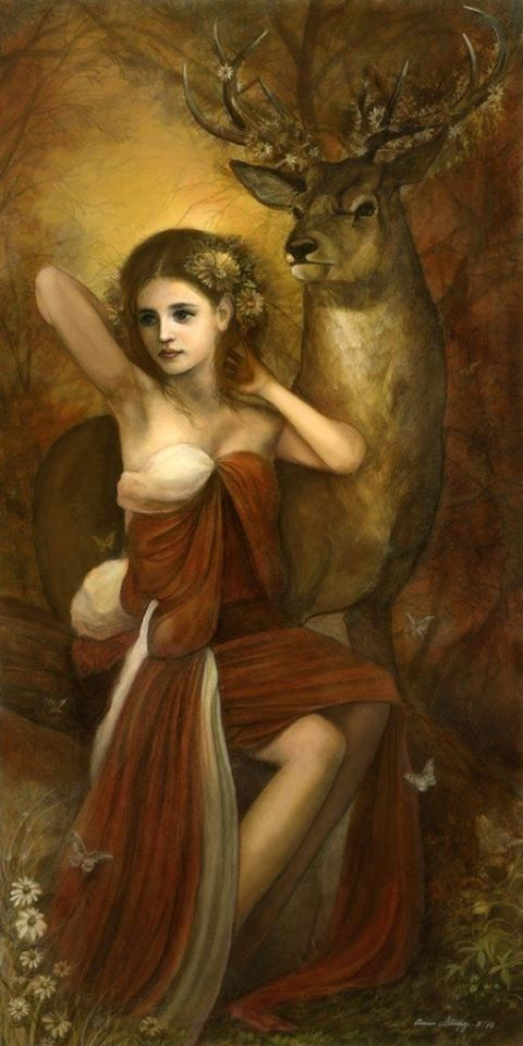 """Sjöfn (Old Norse 'Sgafni' or 'Sefi') is a goddess associated with love. In other kennings, her name is associated with the word 'woman' who represents the feminine side of romance and attraction. women and men."""" Artwork: Annie Stegg — with Ryan Beamis. by guadalupe"""