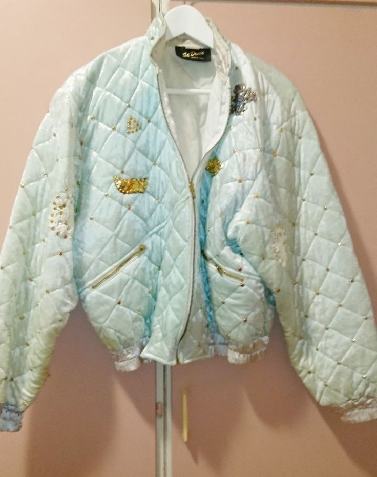 Vintage light blue plush jacket with sequin one size #StDenio #Plushsequin