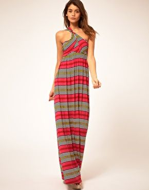 Enlarge Miss Sixty Maxi Dress With Stripe Print