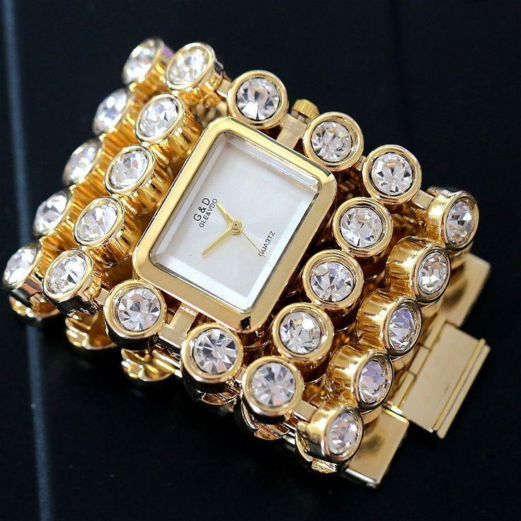 Купить товарОгромный Размер Мода Золотой/Серебро Сталь Кристалл Камень Кварцевые Женские Женщины Наручные Часы в категории Модные часына AliExpress.  Pls Примите Во внимание, что эти часы отправлен по ПОЧТЕ HK    надеюсь, что вы любите его
