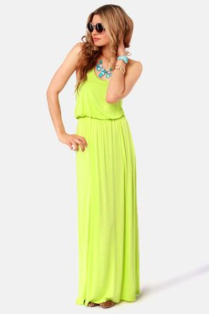 Show off your great gardening skills and blooming buds in the Green Thumb Neon Yellow Maxi Dress. Crafted of a soft, stretchy jersey knit, this lemon-lime maxi dress keeps things comfortable for an afternoon of potting with an easy racerback cut and slightly puffed bodice