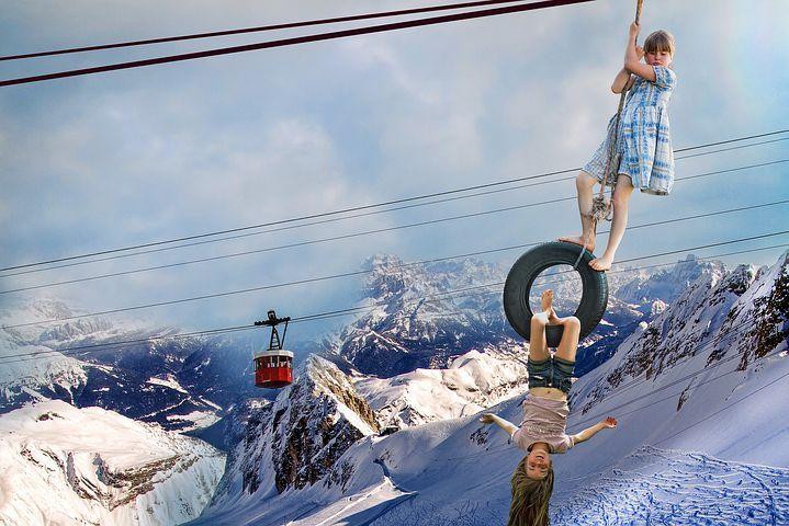 사진 몽타주, 어린이, 산, 케이블 카, 곡예, 눈