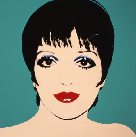 """Andy Warhol knew Minnelli personally, and even interviewed her for his magazine """"Interview"""". While his silkscreens emphasize the starlet's stark and recognizable features, so do his Polaroids where the singer poses unabashedly in her signature look with bright red lips, choppy black hair, and huge staring eyes encased in layers of black mascara. To learn more about Andy Warhol's Starlets click the link. Liza Minelli print available for sale through Robin Rile Fine Art."""