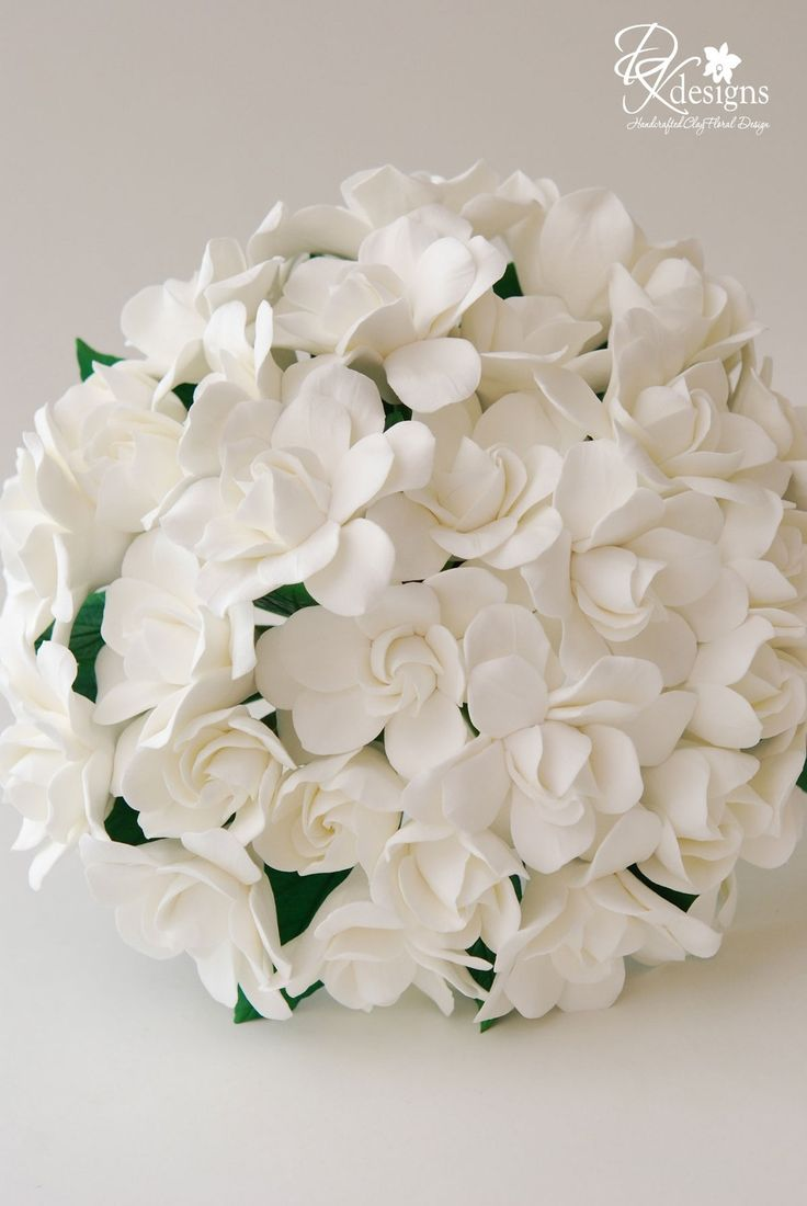Couture Clay Gardenia Wedding Bouquet Made to by dkdesignshawaii