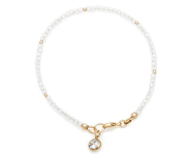 Loft Bracelet in Gold Fill Sparkling White and Gold Cubic Zirconia and 14 Karat Gold Filled Bracelet Handmade in Vancouver BC