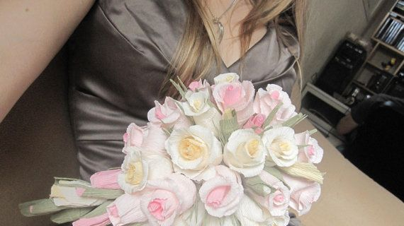 Light Pastel PaperBride  Bouquet by moniaflowers on Etsy