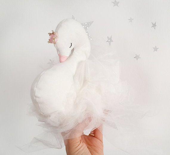 Swan soft nursery decor beautiful swan pillow Ready by missJoyka
