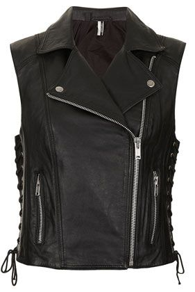 Hamsa Sleeveless Leather Biker Jacket