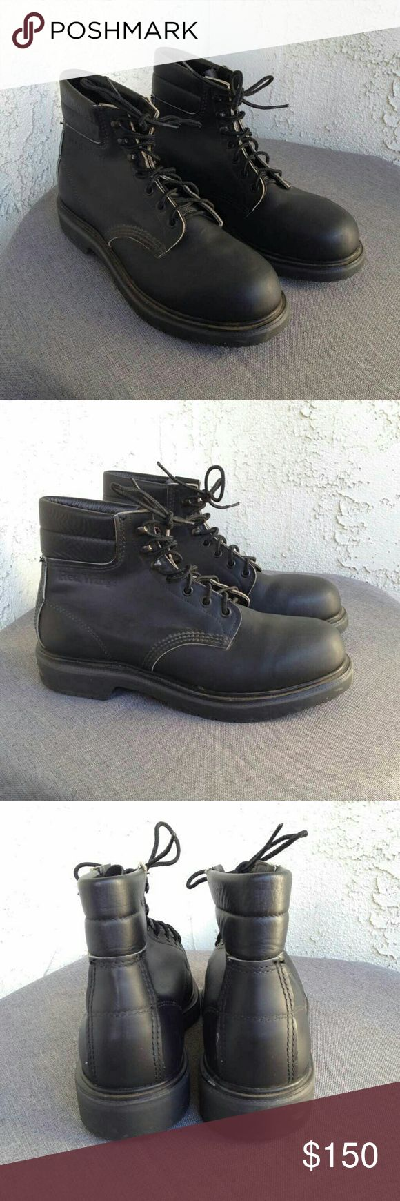 Red Wing Mens Black Oil Resistant Steel Toe Boots Red Wing Mens Boots Black Leather Oil Resistant Steel Toe 2243 Shoes USA $220  Type: Boots Style: Lace Up / Steel Toe / Padded Leather Collar  Style Number: 2243 Brand: Red Wing Shoes Size: 7.5 / 7.5D Material: Leather & Steel Upper / Oil & Gas Resitant Super Sole / Poron 4000 Insole Cushion w/ Arch Lift  Color: Black  Condition: Excellent , Preowned Condition - Worn Once Country of Manufacturer: USA Red Wing Shoes Shoes Boots