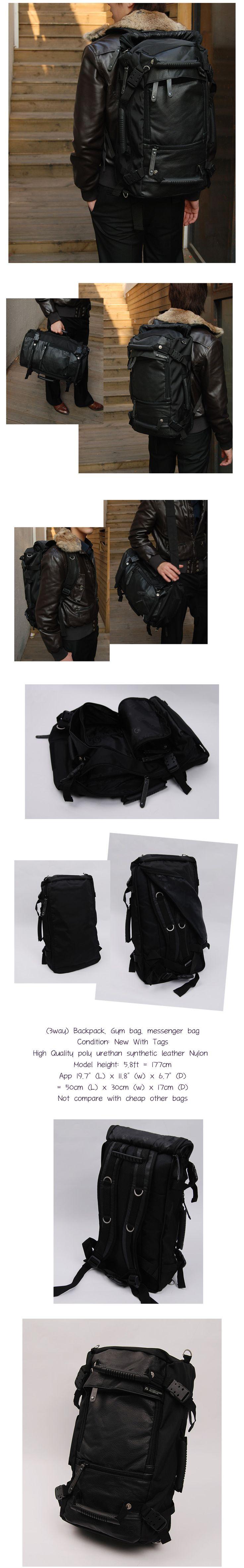 COOL 3way BLACK USEFUL MESSENGER SHOULDER DUFFLE BAGS LAPTOP BACKPACK DAYPACK