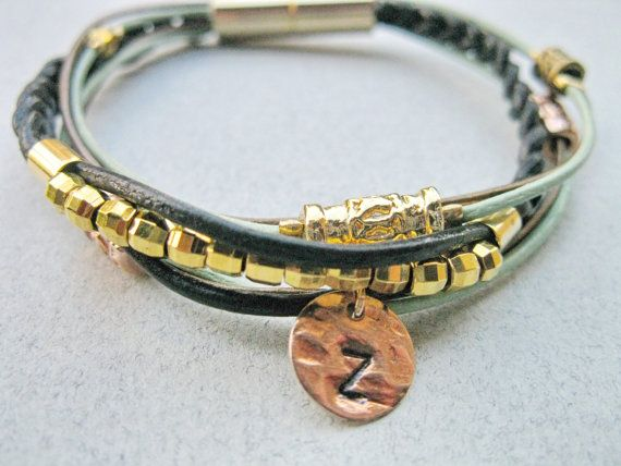 Personalized leather wrap bracelet Monogram by saragalstudio