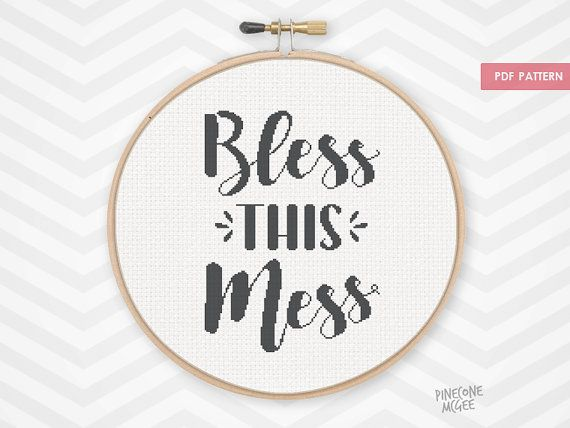 BLESS THIS MESS counted cross stitch pattern easy housewarming xstitch gift funny quote needlecraft typography cute diy homemade embroidery by PineconeMcGee