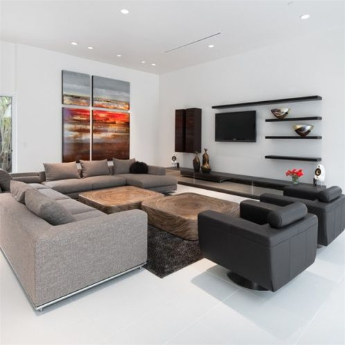 Contemporary Sofa with floating entertainment center : cantoni sectional - Sectionals, Sofas & Couches