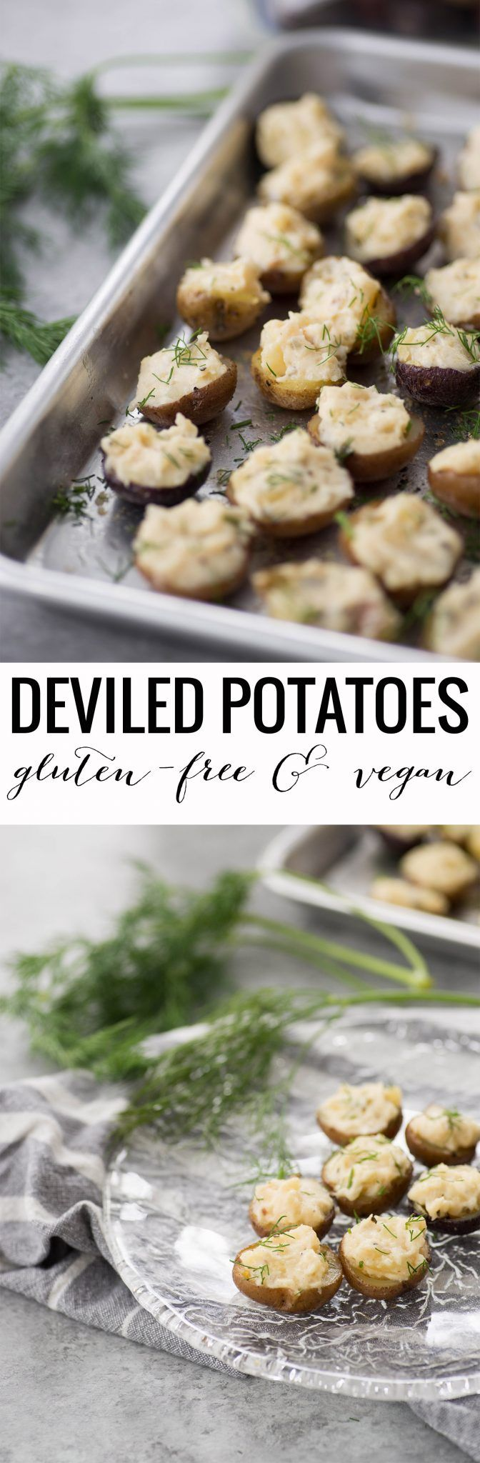 Deviled Potatoes! These mini potatoes are the perfect Spring appetizer. Crispy potato shells stuffed with deviled dill potato filling. Vegan, Gluten-Free.