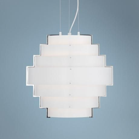 "Possini Euro Karelia 14 1/4"" Wide Tiered White Pendant Light -"