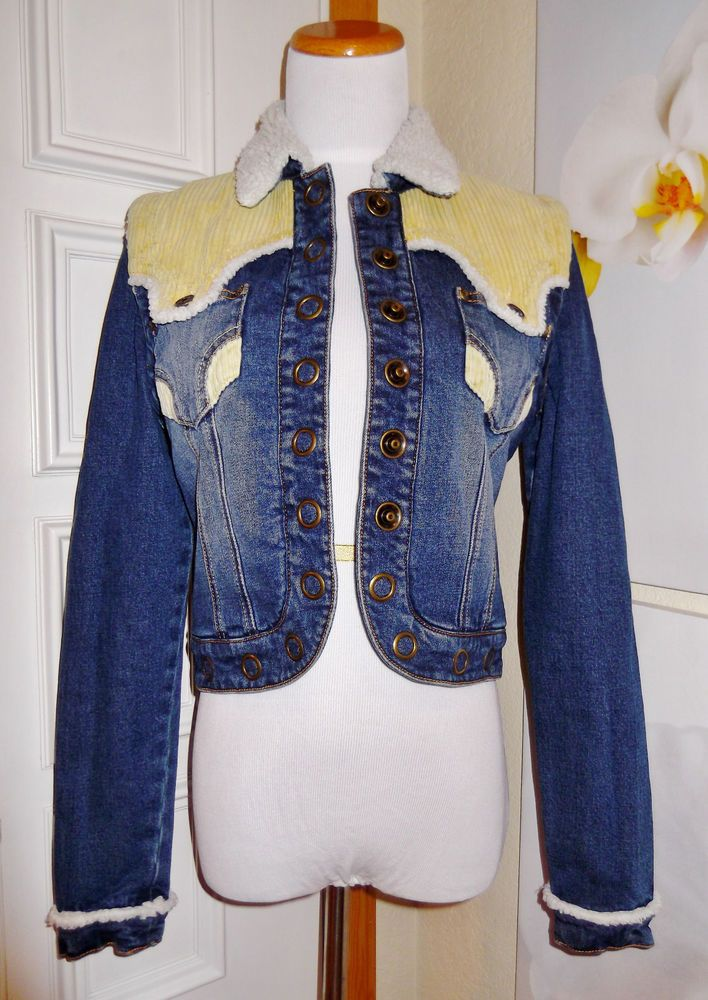 *STATING AT .99  AND LOW SHIPPING*  MARITHE FRANCOIS GIRBAUD JEAN JACKET &  VEST SAMPLE FAUX FUR LINED CORDUROY TRIM #MARITHEFRANCOISGIRBAUD #JeanJacketANDVest