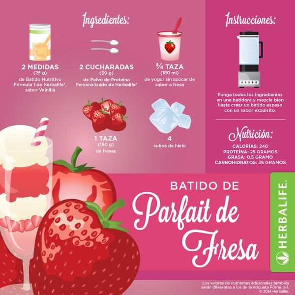 Batido de Parfait de Fresa ... ummm #herbalife #productosherbalife