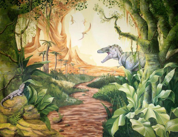 Feature wall dinosaur mural with boy 39 s pet bearded dragon for Dinosaur mural ideas