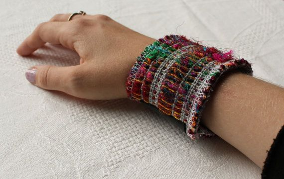 Boho chic woven recycled sari cuff by NoctuaryArt on Etsy, 10e.