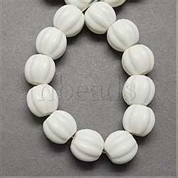 10 шт белый дыни яркий остеклением фарфора ручной работы керамические шарики, тыква, 13x12 мм, отверстие: 2 мм(X-PORC-Q204-7)