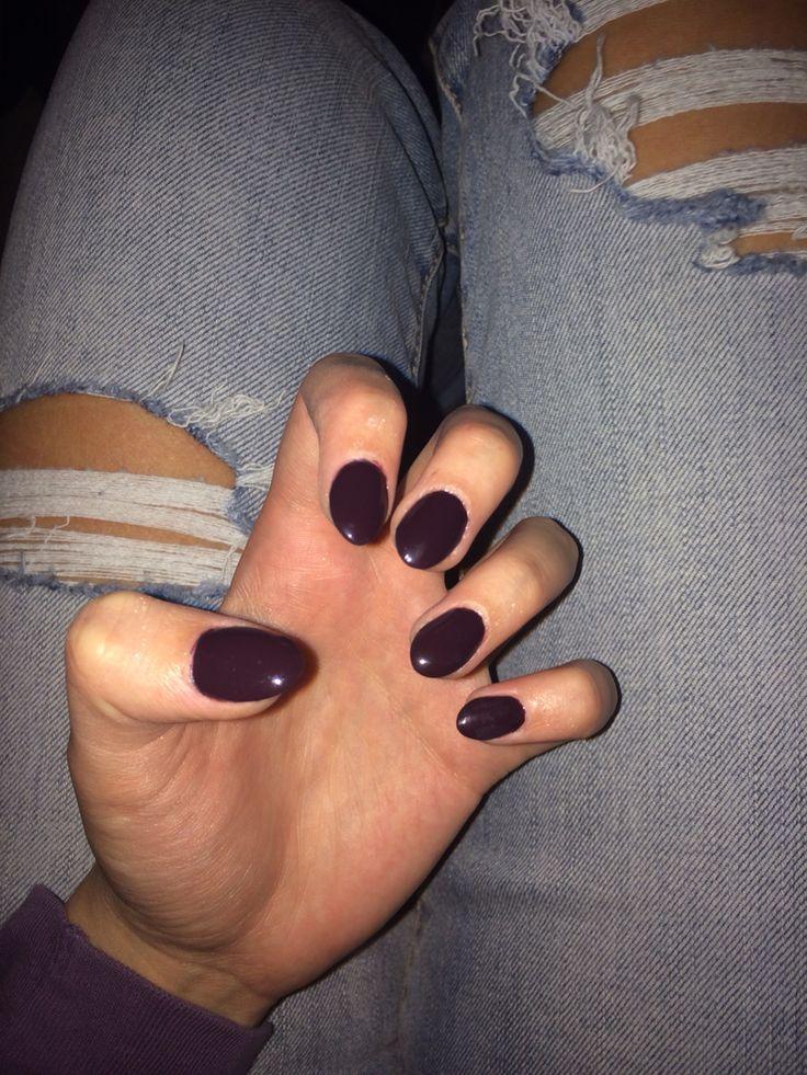 Dark purple burgundy almond shaped acrylic nails