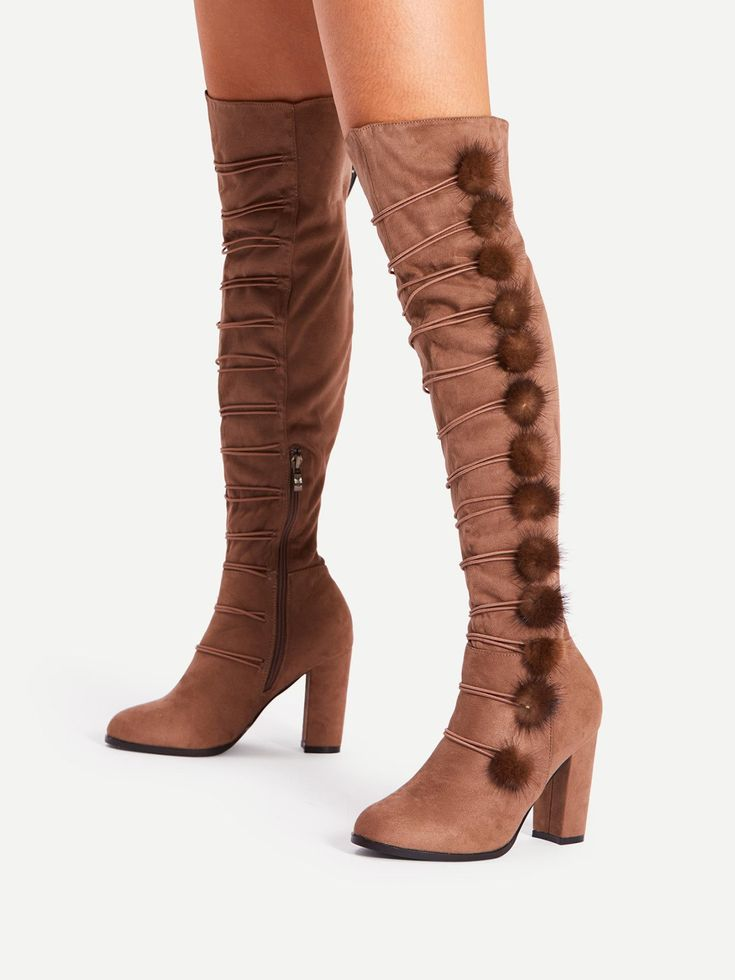 Knee High High Heel Boots with Almond Toe. Boots have Side zipper. Perfect choice for Elegant wear. Trend of Spring/Autumm-2018. Designed in Coffee.