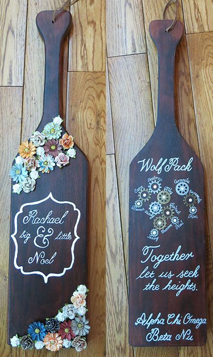 Alpha Chi Omega sorority paddle with wood stain, calligraphy, gears, and flowers. #engineer #familytree #alphachiomega #calligraphy