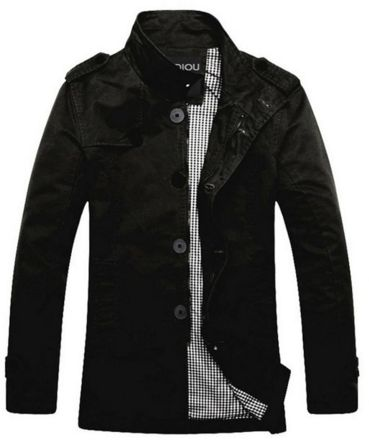Men's Fitted Trench in Black