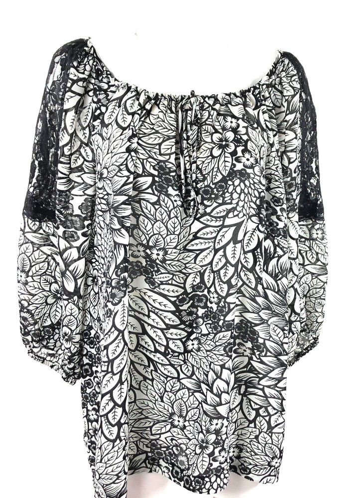 88a56d8344d7e Agora Plus Size 2X Blouse Black White 3 4 Tunic Floral Lace Drawstring   Agora  Blouse  Casual