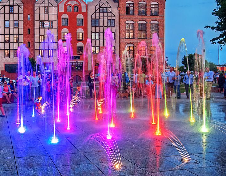 Colored fountains in Elbląg, Poland.